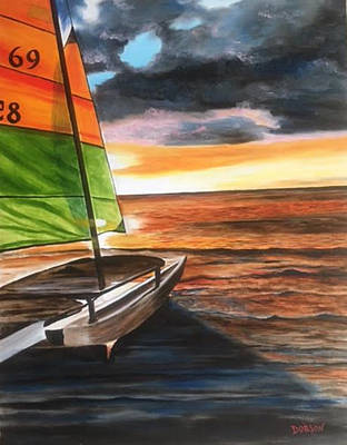 Painting - Catamaran At Sunset by Lloyd Dobson