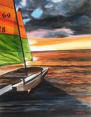 Painting - Catamaran At Sunset by Lloyd Dobson