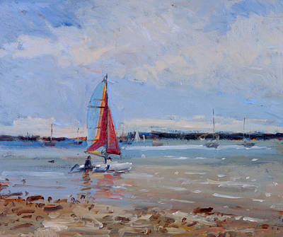 Windsurfing Painting - Catamaran  Brittany by Christopher Glanville