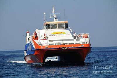 Photograph - Catamaran Ferry At Tilos by David Fowler