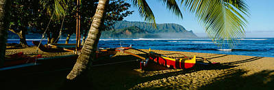 Clear Sky Photograph - Catamaran On The Beach, Hanalei Bay by Panoramic Images