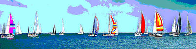 Mixed Media - Catamaran Racing by Charles Shoup