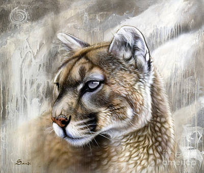 Lion Painting - Catamount by Sandi Baker
