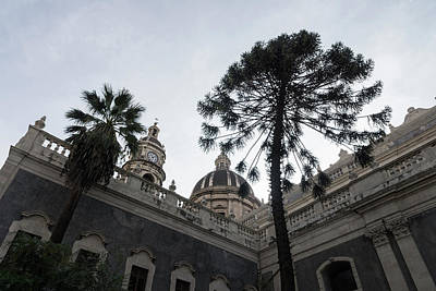 Photograph - Catania Cathedral Saint Agatha With Lacy Treetops by Georgia Mizuleva