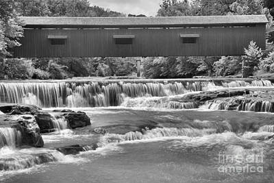Photograph - Cataract Cascades Under The Covered Bridge Black And White by Adam Jewell