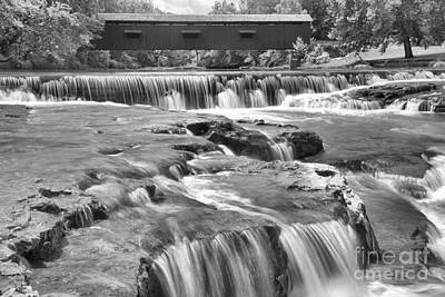 Photograph - Cataract Falls Cascades Under The Bridge Black And White by Adam Jewell