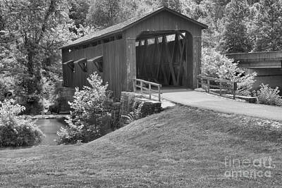 Photograph - Cataract Falls Covered Bridge Landscape Black And White by Adam Jewell