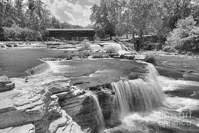 Photograph - Cataract Falls Endless Cascades Black And White by Adam Jewell