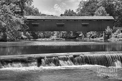 Photograph - Cataract Falls Under The Bridge Black And White by Adam Jewell