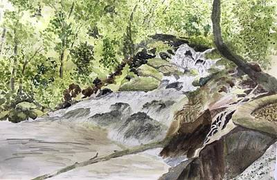 Painting - Catawba Falls - A Watercolor Sketch by Joel Deutsch
