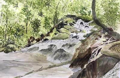 Painting - Catawba Falls - A Watercolor Sketch by Joel Deutsch