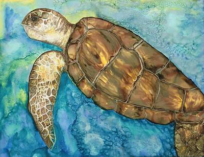 Hawaii Sea Turtle Painting - Catch A Wave by Lisa  Marsing