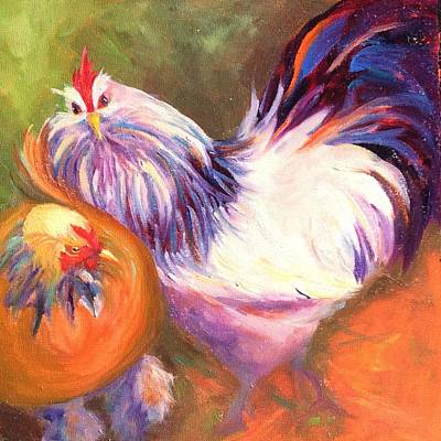 Big Rooster Painting - Catch Me If You Can by Debbie Martin