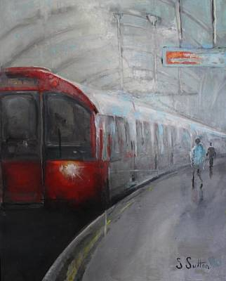 London Tube Painting - Catch The Last Ride Home by Sara Sutton