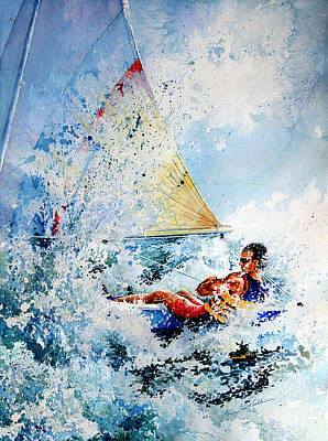 Watercolor Sports Painting - Catch The Wind by Hanne Lore Koehler