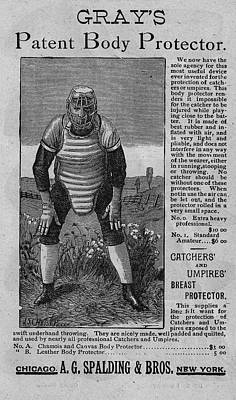 Collectible Sports Art Drawing - Catcher's Body Protector by Vintage Pix
