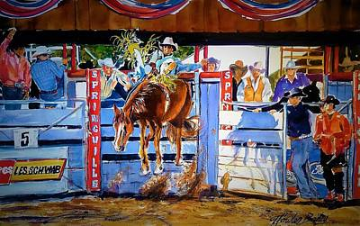 Rodeo Clown Painting - Catching Air At Springville Rodeo by Therese Fowler-Bailey