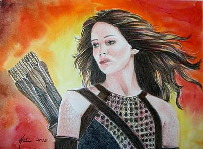 Hunger Games Painting - Catching Fire by Kat Ewing