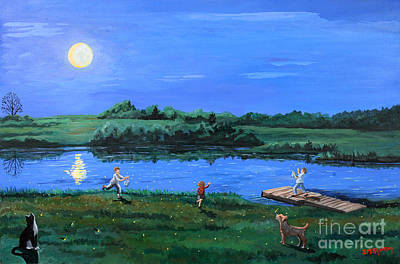 Painting - Catching Fireflies By Moonlight by Stella Sherman