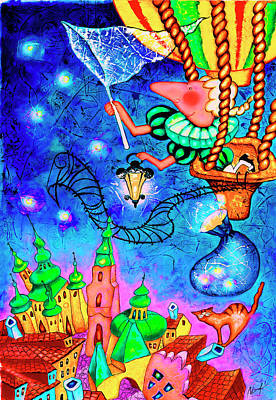 Astronomical Clock Painting - Catching Stars by Inga Konstantinidou