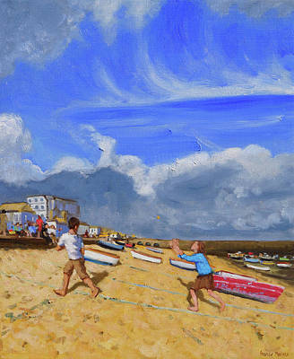 St Ives Wall Art - Painting - Catching The Ball, St Ives by Andrew Macara