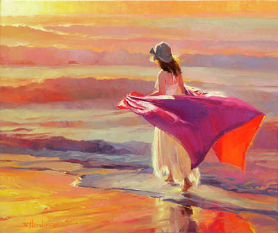 Beach Oil Painting - Catching The Breeze by Steve Henderson