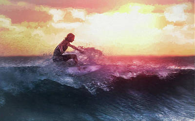 Brilliant Painting - Catching The Last Wave Of The Day In Tropical Sunset Colors by Elaine Plesser