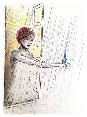 Tears Drawing - Liberte Catching Paris Tears by Barbara Chase