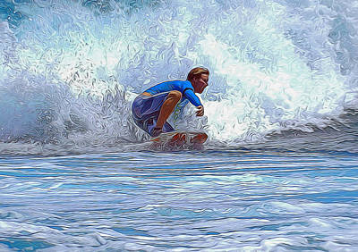Mixed Media - Catching The Wave by Pamela Walton