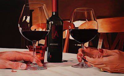 Wine Reflection Art Painting - Catching Up by Eric Renner