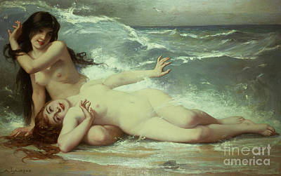 Nude Wall Art - Painting - Catching Waves  by Paul Albert Laurens