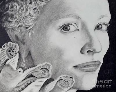 Cate Blanchett Drawing - Cate Blanchett As The Virgin Queen by Lise PICHE