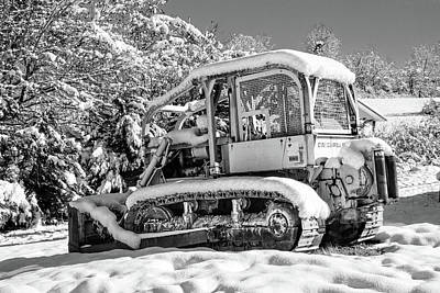 Photograph - Caterpillar In The Snow Black And White by Debra and Dave Vanderlaan