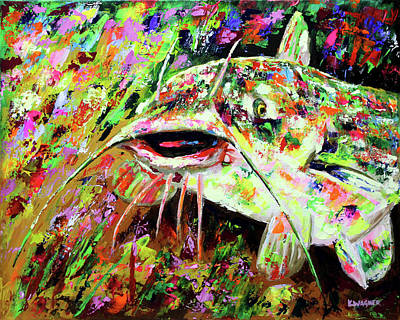 Painting - Catfish In Colors by Karl Wagner