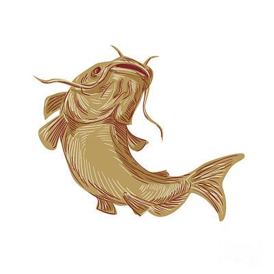 Catfish Digital Art - Catfish Mud Cat Going Up Drawing by Aloysius Patrimonio