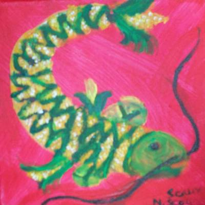 Cookbook Painting - Catfish Rolled In Cornmeal by Seaux-N-Seau Soileau