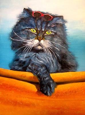 Cat.go To Swim.original Oil Painting Art Print by Natalja Picugina