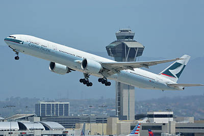 Print featuring the photograph Cathay Pacific Boeing 777-367er B-kph Los Angeles International Airport May 3 2016 by Brian Lockett