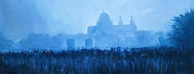 Deep Blue Painting - Cathedral In The Mist by Conor McGuire