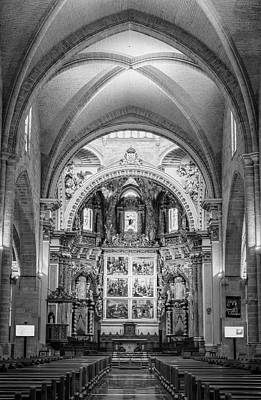 Photograph - Cathedral Interior Bw Valencia Spain by Joan Carroll