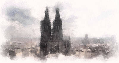Mixed Media - Cathedral Of Cologne by Susan Maxwell Schmidt