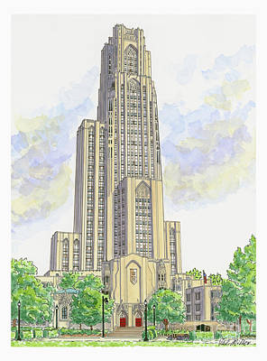 Cathedral Of Learning Art Print by Val Miller
