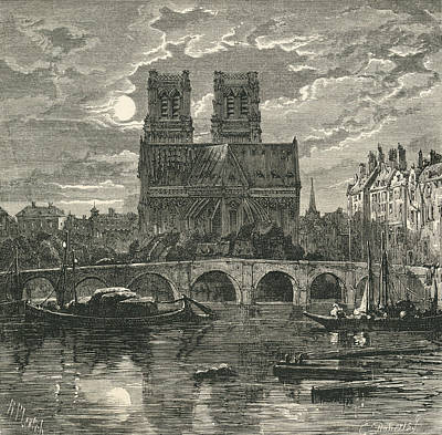 Notre Dame Drawing - Cathedral Of Notre Dame, Paris, France by Vintage Design Pics