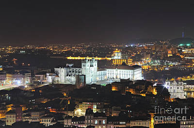 Photograph - Cathedral Of Porto At Night From Clerigos Tower by Angelo DeVal