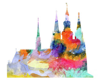 Tourist Attraction Mixed Media - Cathedral Of Saint Vitus In The Prague Castle Watercolor Art by Michal Boubin