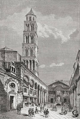 Split Drawing - Cathedral Of St. Domnius In Cathedral by Vintage Design Pics