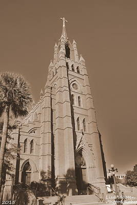 Photograph - Cathedral Of St John The Baptist Charleston S C Sepia by Lisa Wooten
