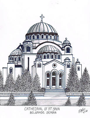 Drawing - Cathedral Of St Savia by Frederic Kohli