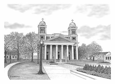 Immaculate Drawing - Cathedral Of The Immaculate Conception by Joseph Schilling