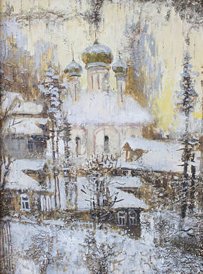 Painting - Cathedral Over The Snowy Village by Ilya Kondrashov